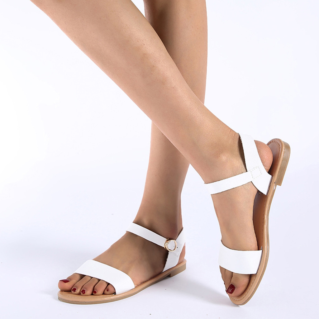 Roman Fish Mouth Flat Bottom Solid Color Set Foot Breathable Sandals Womens Shoes