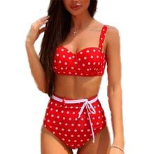 цена Polka Dot Bikini 2019 Cute High Waisted Swimsuit Women Red Bikini Push Up PaddedSwimwear Women Bathing Suit Maillot De Bain S-L онлайн в 2017 году