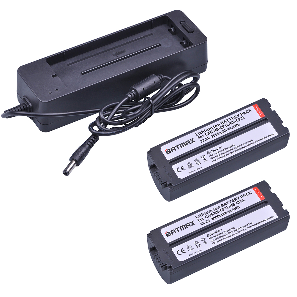 2Pcs 2000mAh NB CP2L NB-CP2L Battery + Charger Adapter for Canon NB-CP1L CP2L SELPHY CP100 CP200 CP220 CP300 CP330 CP400 CP1300