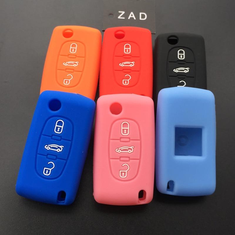 Силиконовый резиновый чехол ZAD для автомобильного ключа, защитный чехол для Peugeot 107, 207, 307, 407, 308, 607, 3 кнопки, чехол для ключа