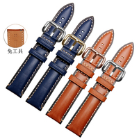High quality watch accessories watchbands 20mm 22mm 24mm brown Blue leather watch band for Fossil FTW1114 watch strap