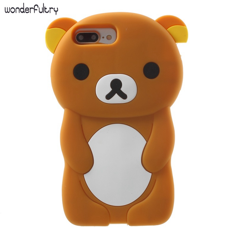 For iPhone X/10 3D Rilakkuma case Coque Cute Bear Cover For iPhone8 7 7plus 6s 6plus 5 5S SE 4S Silicone Phone Case Capa Funda
