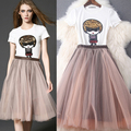 2016 spring and summer clothes set women when the new European Exquisite sequin cartoon T-shirt +  tutu skirt  female T4921