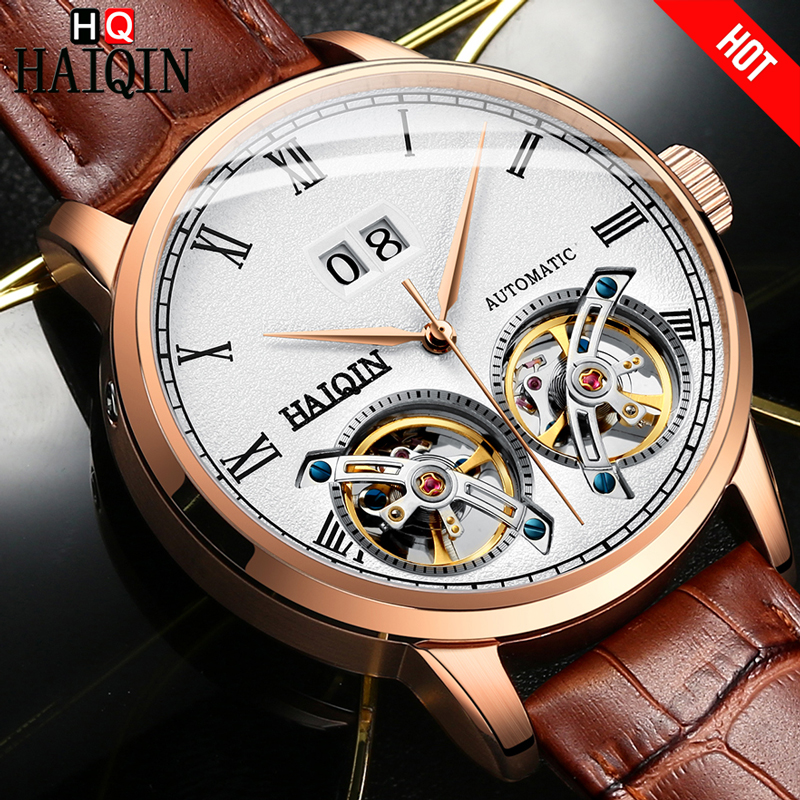 HAIQIN Top Brand Men Watch Automatic Mechanical luxury Gift Business Watch men double Tourbillon 50m Waterproof