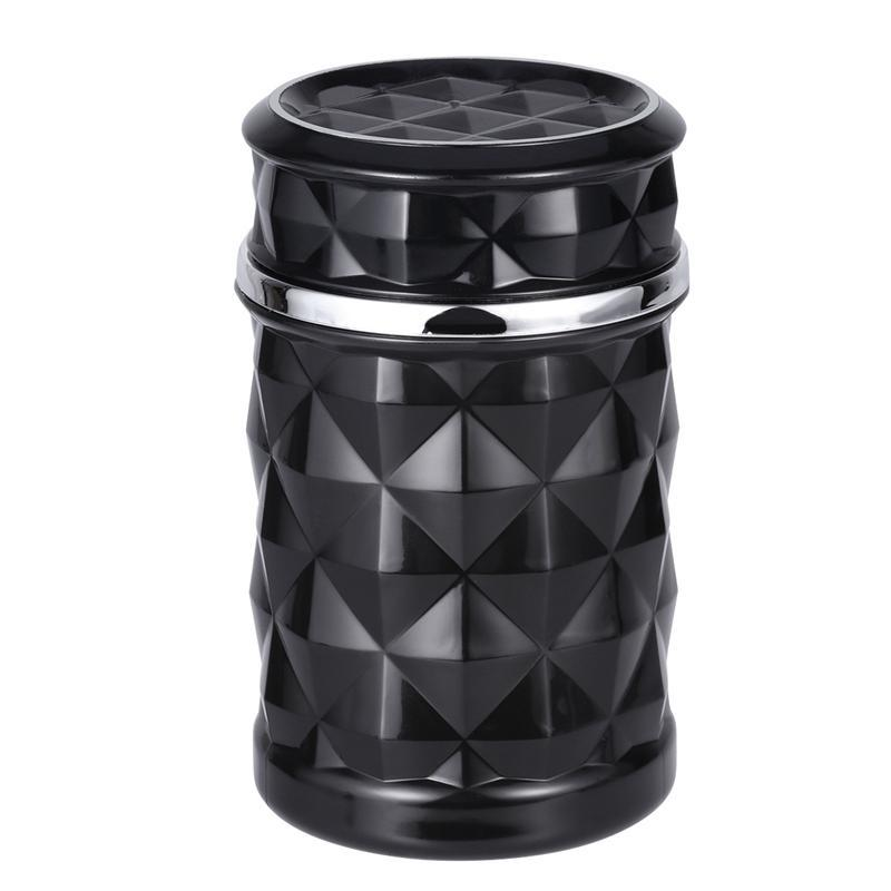 OPIB Car Ashtray with Lid Portable Smokeless Ash Holder with Blue LED Light for Home//Office,Black