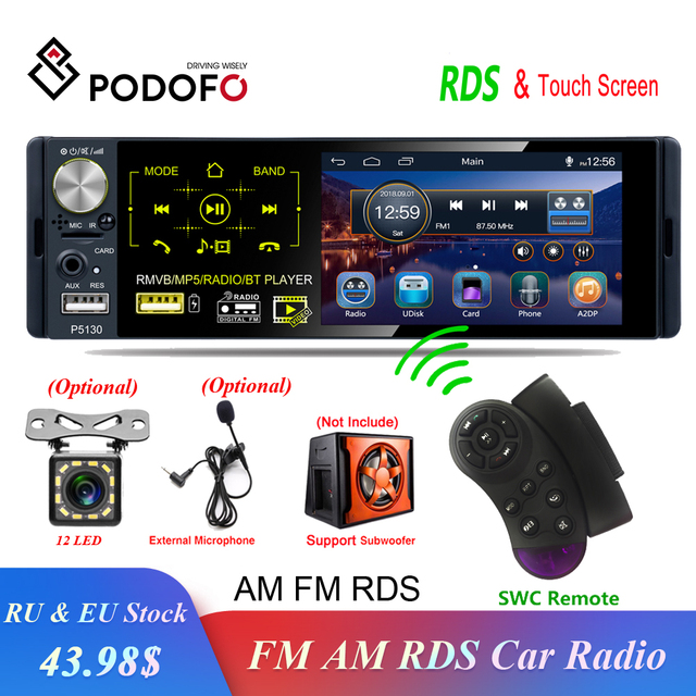 "Podofo 1 din Auto Radio RDS Media MP5 Player Bluetooth 1Din Autoradio 4 ""HD Touch Screen FM Empfänger USB audio Stereo Hinten Kamera"