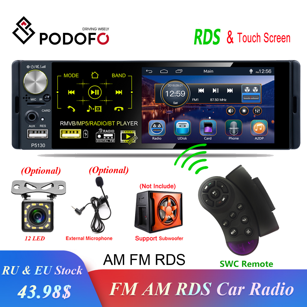 Podofo 1 din Car Radio RDS Media MP5 Player Bluetooth 1Din Autoradio 4 HD Touch Screen FM Receiver USB Audio Stereo Rear Camera image