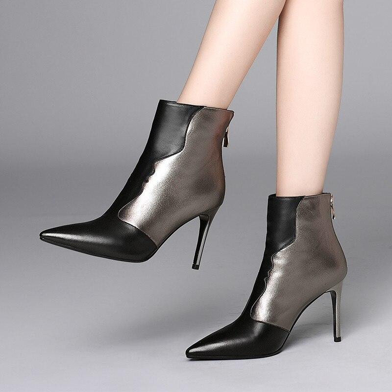 Sexy noir Pointu Fille Talon Msfair Beige Haut Cheville Bottes Stiletto Zipper Femmes Pour Bout Boot Chaussures De Mode qPqTwgx