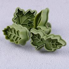 4 pcs/set  Pastry Cake Biscuit Mold4 Kinds Of Leaf Shape Plastic Cookie Cutters Set Spring Plunger Baking Tools