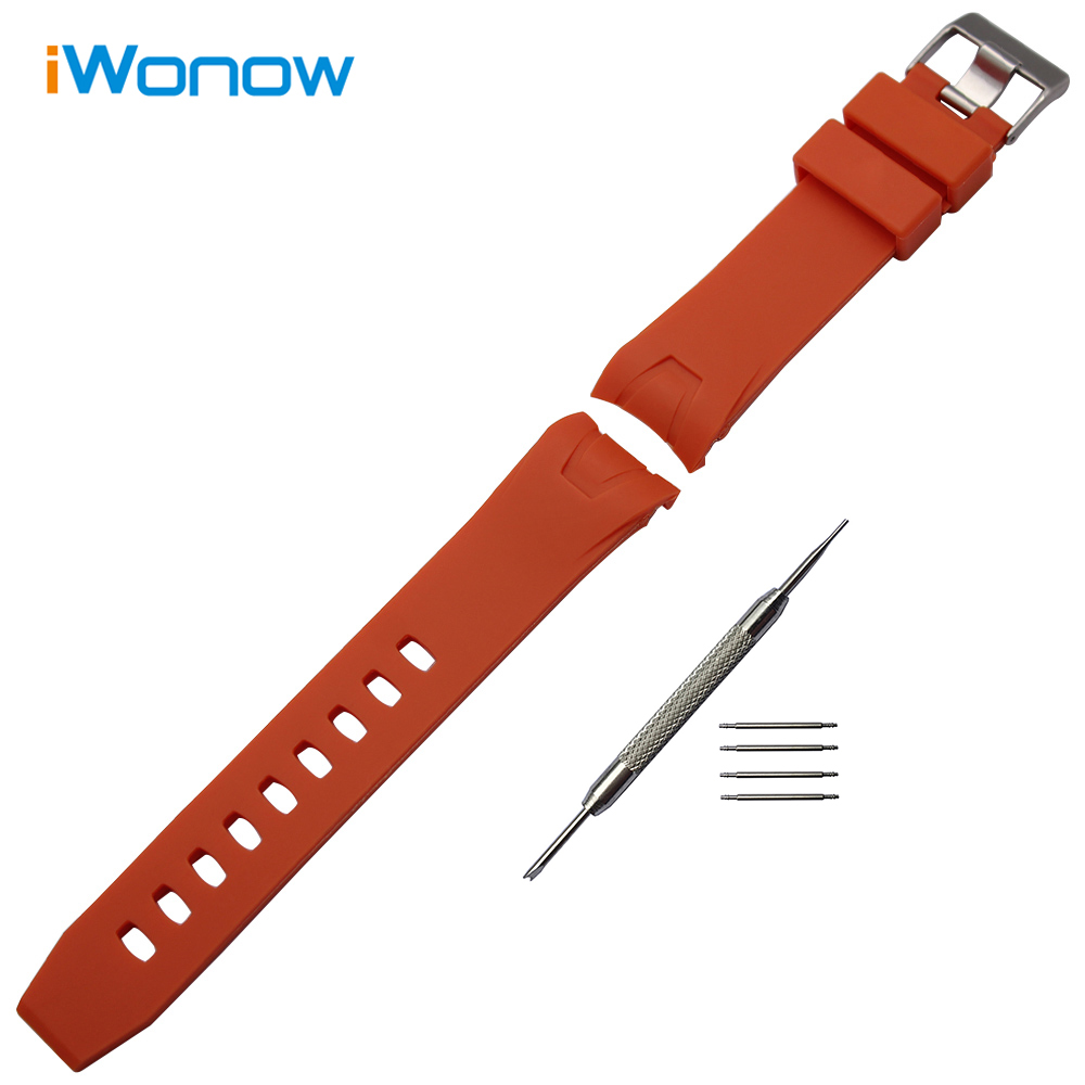 Silicone Rubber Watchband 20mm 22mm Arc End Replacement Watch Band Steel Buckle Strap Resin Wrist Bracelet Orange Black + Tool durable canvas fabric strap steel buckle wrist watch band 20mm 22mm pin buckle durable replacement watchband nato strap colorful
