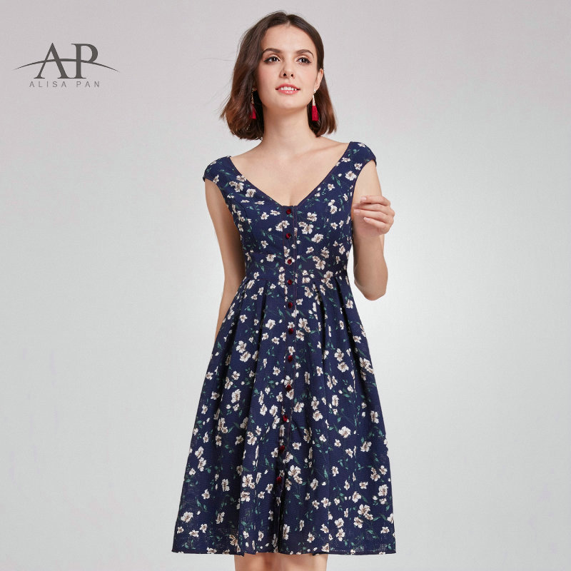 2017 New Women Clothing Spring Vintage Dresses Print Floral A Line Elegant Party Dress Navy Blue Casual Dress Vestidos AS05799