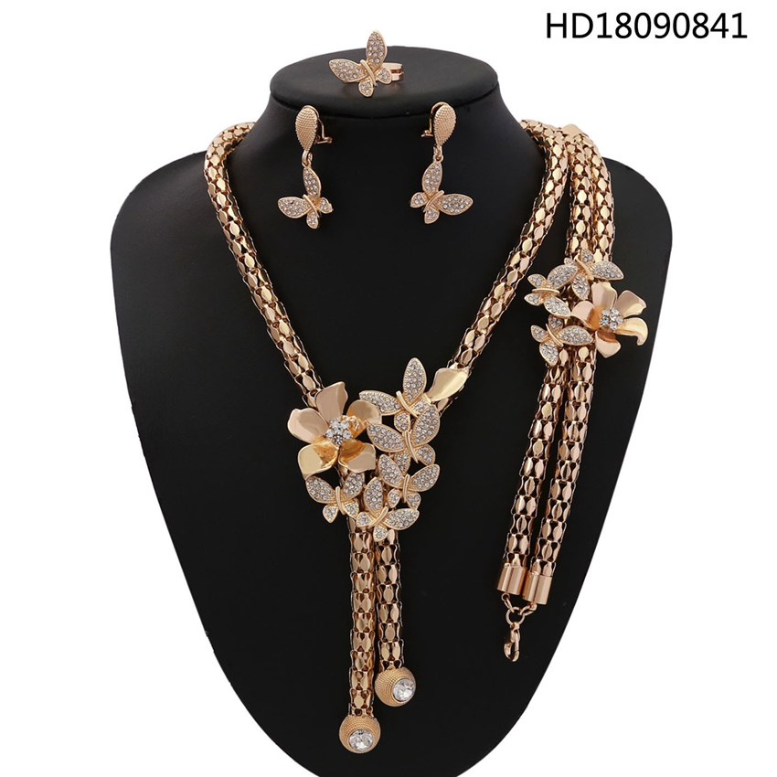 YULAILI African Beads Rhinestone Jewelry Set Fashion Wedding Women Gold-color Necklace Bracelet Earrings Ring Accessories a suit of charming red rhinestone bamboo necklace bracelet ring and earrings for women page 9