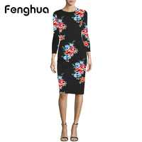 Fenghua Dress Women Summer 2018 Casual Fashion Vintage Slim Sexy Bodycon Dress Spring Floral Print Office