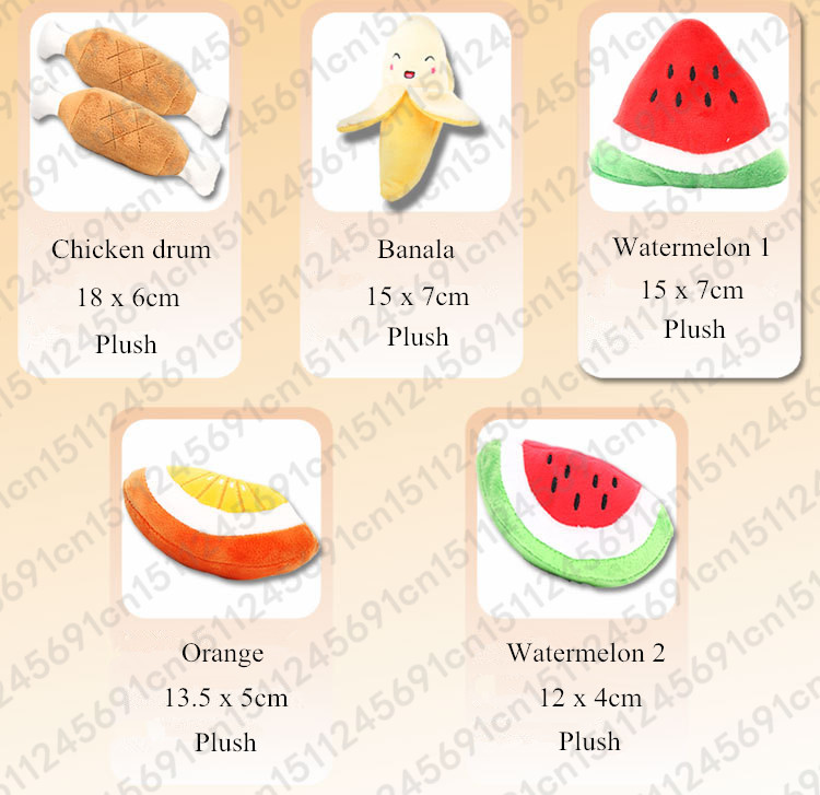 1pc Fruit Vegetable Chicken Drum Bone Squeak Toy For Dog Puppy Plush Red Pepper Eggplant Radish Duck Sounding Pet Toys 2