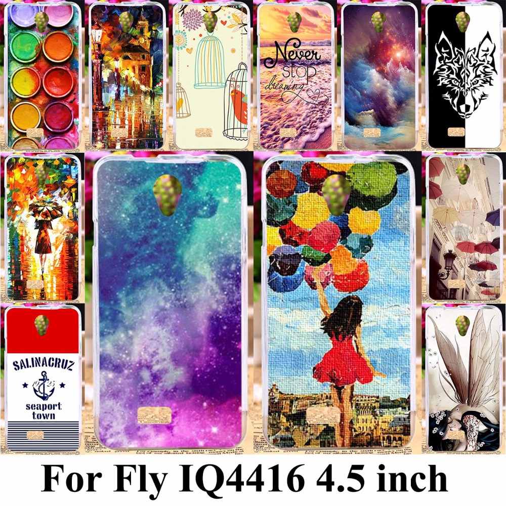 TAOYUNXI Silicone Phone Cover Case for Fly IQ4416 Fly quad Era Life 5 IQ 4416 life5 4.5 inch Case TPU Colorful Painting Cover