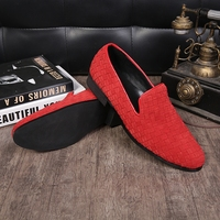 2016 new coming round toe slip on real suede leather loafers red/black breathable woven wedding shoes men large size EU46