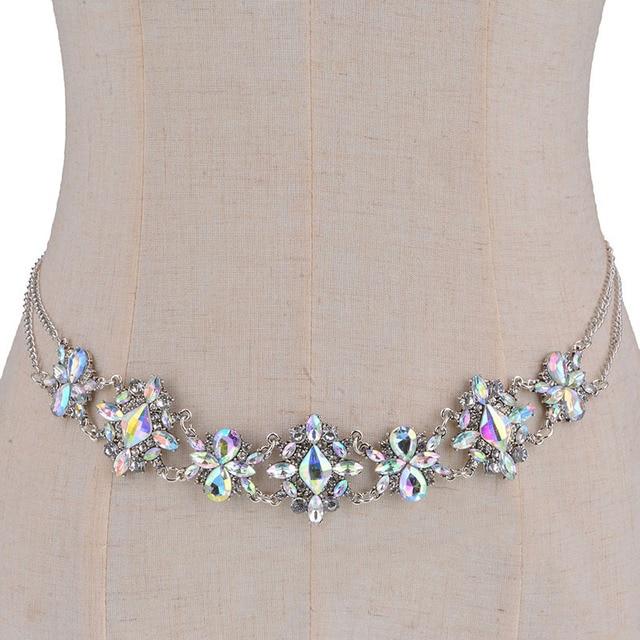 Color Good Quality Body Waist Chain Bohemian Wedding Crystal Statement Jewelry Cross Pendant Hot