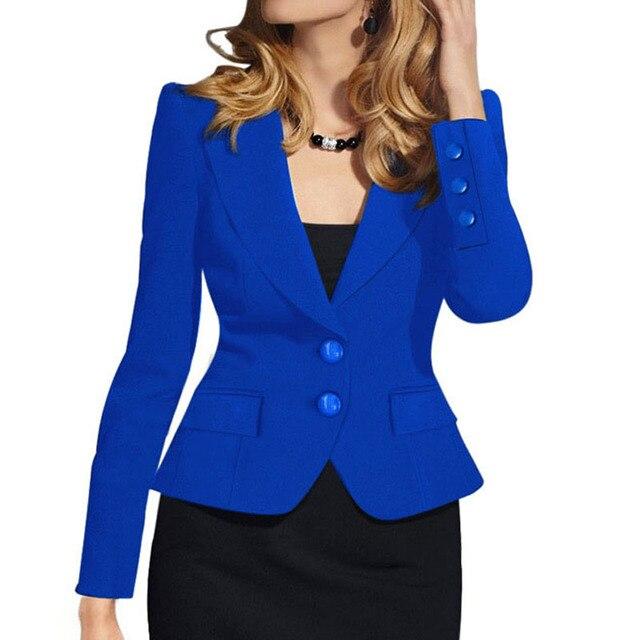 0de8914216 Mulher senhoras Blazer 2018 Botão Desgaste do Trabalho Paletó Feminino Lady  Escritório Formal Mulheres Blazers e