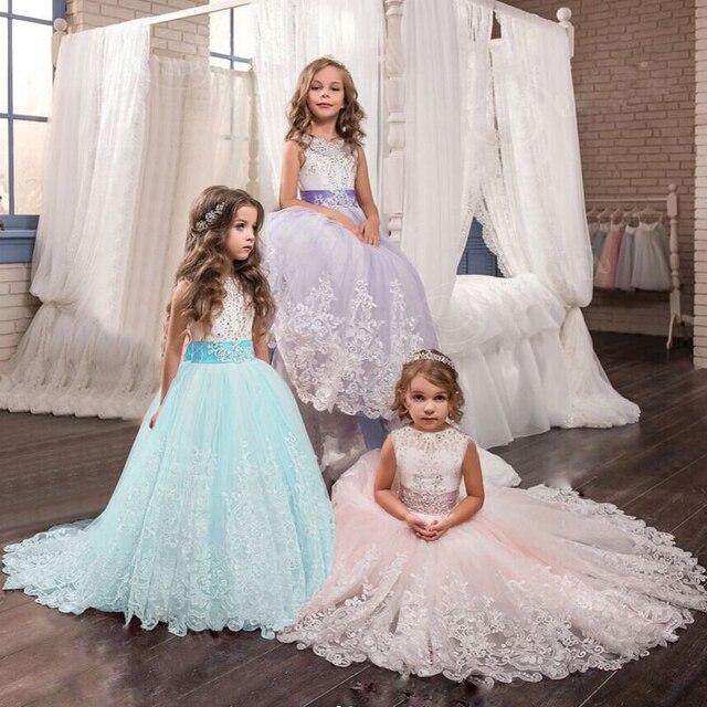 Элегантное фиолетовое бальное платье принцессы с цветочным рисунком для девочек, длинные платья для выпускного вечера, детская одежда с вышивкой для рождественской вечеринки