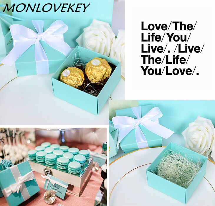 50pcs Tiffany Blue Wedding Candy Box Wedding Favors And Gifts