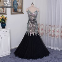 Black Mermaid Rhinestones Beading Prom Dress Spaghetti Straps Open Back Bling Bling Evening Gown Sheer Pageant Dress