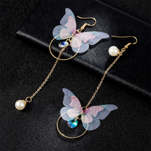 FAMSHIN Retro Asymmetric butterfly imitation Pearl alloy Dangle Earrings long section of the wings and Earings Fashion Jewelry