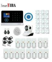 SmartYIBA WCDMA 3G LCD Burglar Intruder Alarm System WIFI Alarmes Blue Flash Siren Camera Surveillance