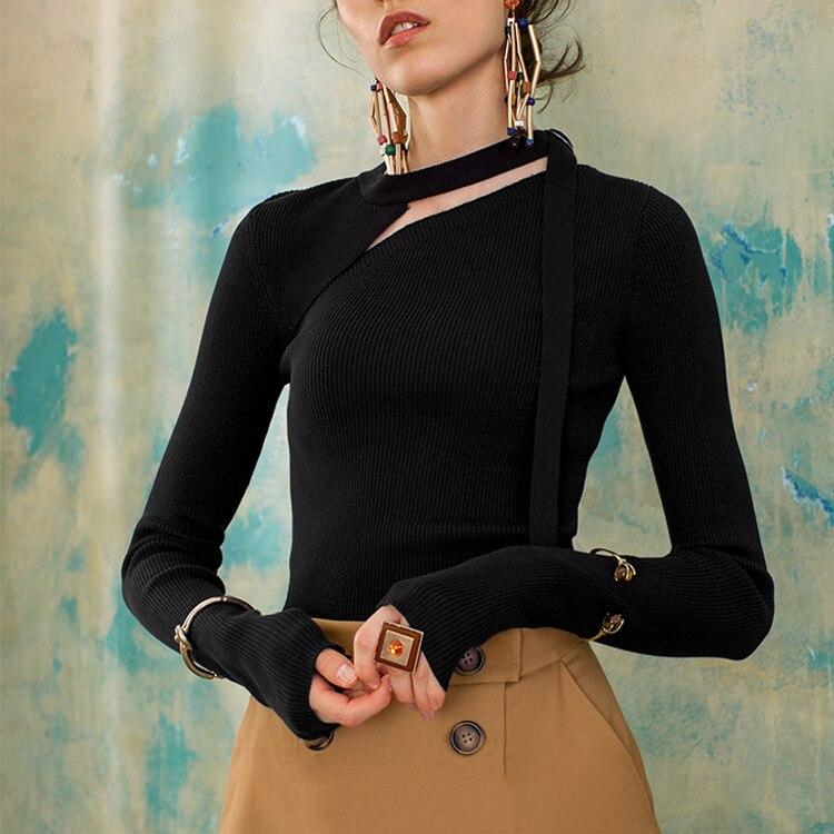 New winter wear knitted openwork design sense Ribbon Shirt coat sweater
