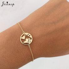 Jisensp elo de corrente mapa do mundo pulseiras & pulseiras para mulher globo pulseira charme viagem jóias presente wanderlust terra pulseiras