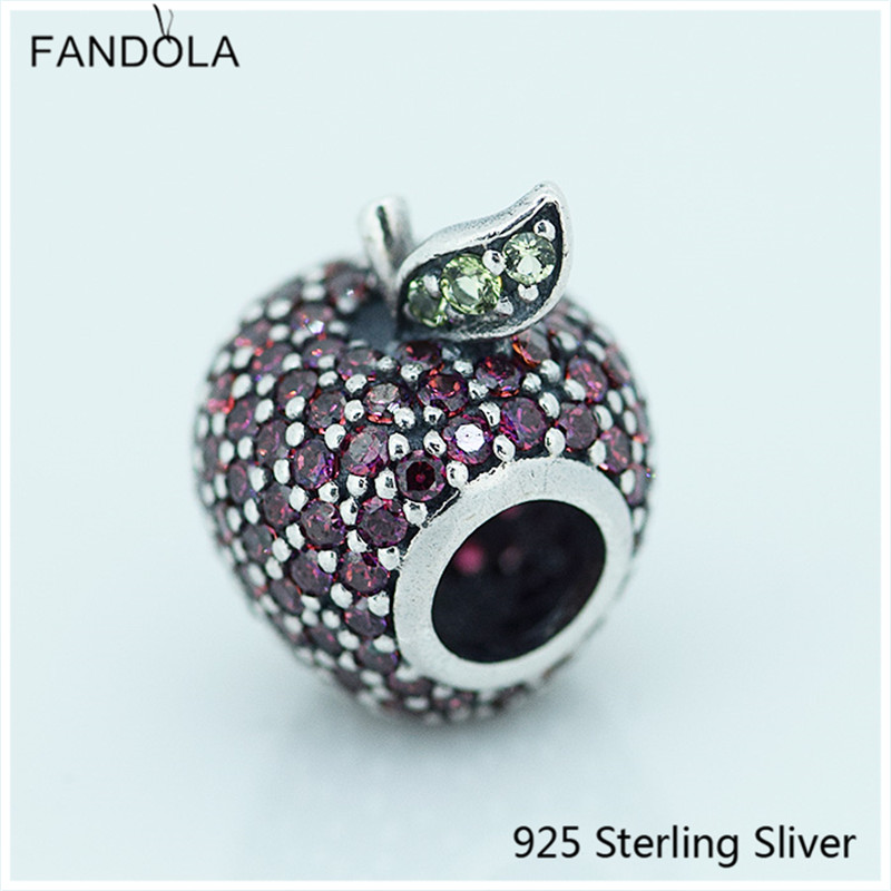 925 Sterling Silver Jewelry Apple Pave Silver Charm with Fancy Red Cubic Zirconia Fit Pandora Charm DIY Making Bracelet Gift