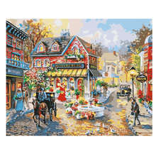 40x50cm Diy Oil Paint By Numbers Kit Street,Carriage,Painting