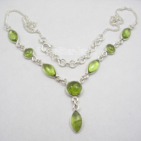 Chanti International Solid Silver Round & Marquise GREEN PERIDOT MODERN Necklace 18 1/8 BIJOUX