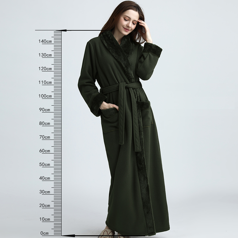 Women Extra Long Thickening Fleece Thermal Bathrobe Kimono fur Flannel Warm Bath Robe Winter Dressing Gown Men Robes Peignoir