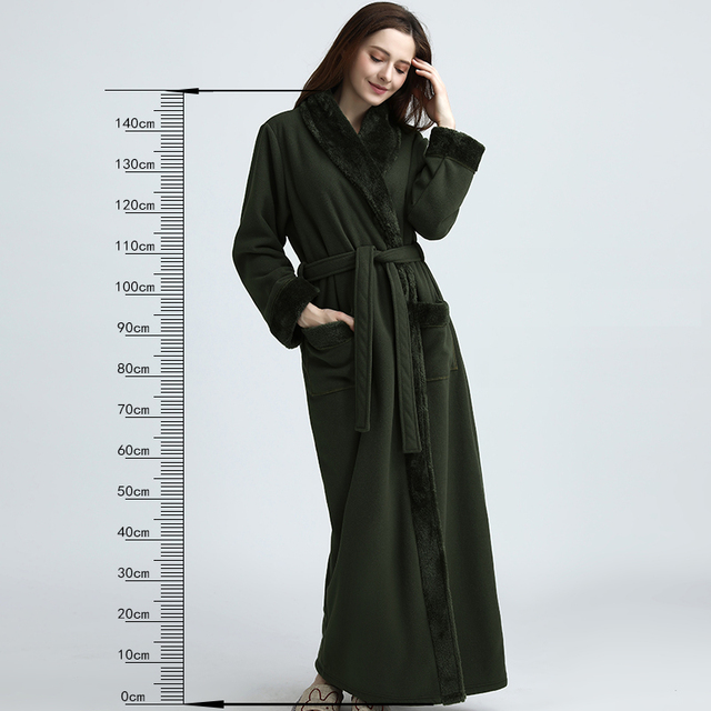 Women Extra Long Thickening Fleece Thermal Bathrobe Kimono fur Flannel Warm  Bath Robe Winter Dressing Gown Men Robes Peignoir 49c67599f
