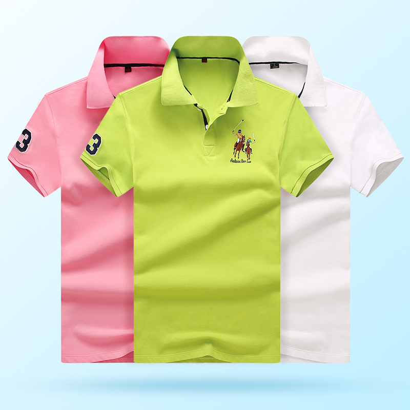 Original Brand men anti-pilling Breathable Sweat Solid color cotton Short sleeve   Polo   shirts embroidered Business Casual   polo