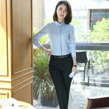 Autumn Winter Elegant Blue Formal Uniform Styles Pantsuits With Blouses And Pants For Business Women