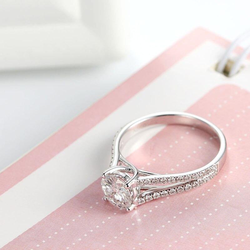 1ct Test Positive Moissanites Split Shank Bridal Lab Grown Diamond Ring in18k white gold