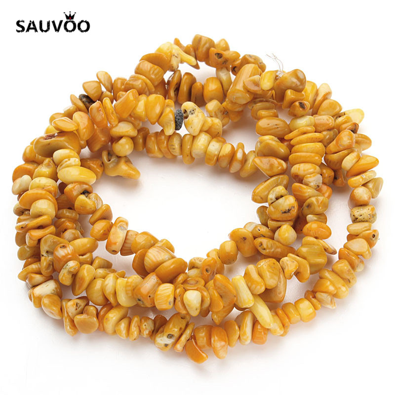 SAUVOO Approx. 80cm/31.5 Strand Natural Stone Irregular Gravel Yellow Coral Beads for DIY Bracelet Necklace Findings F1789