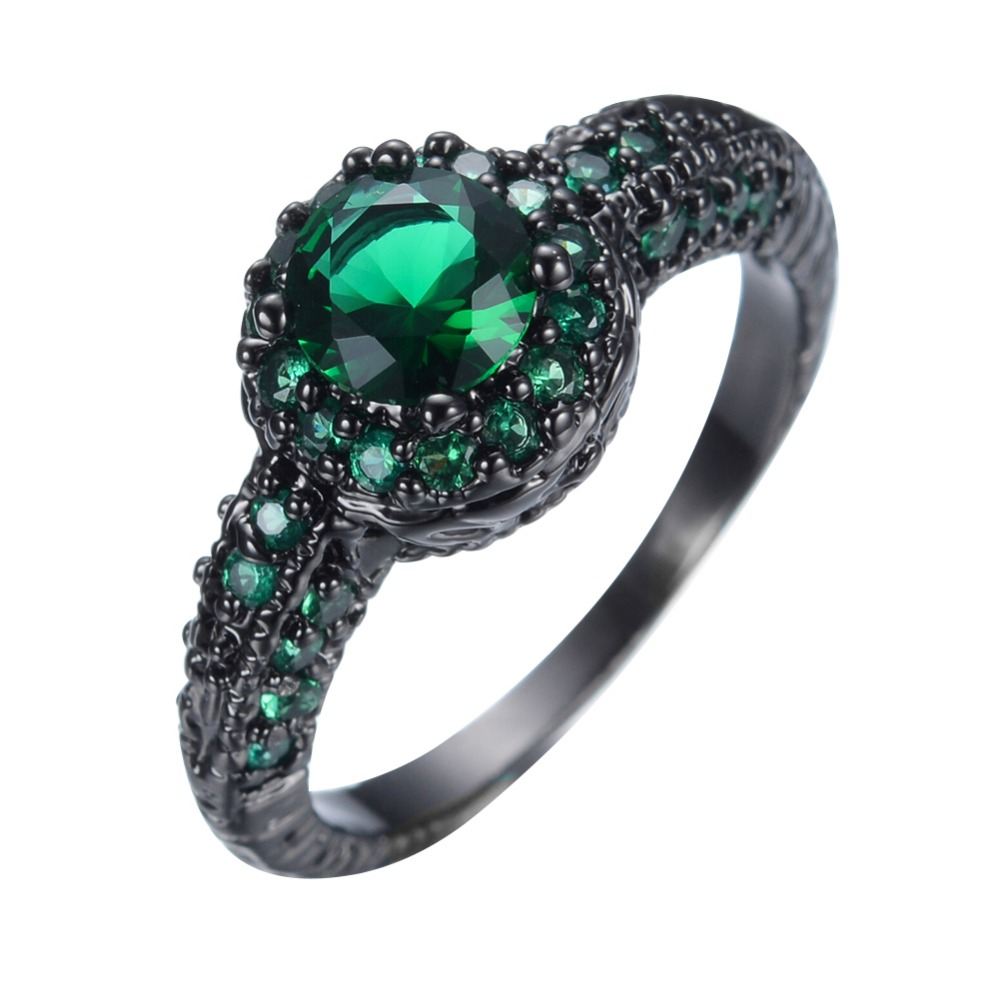 emerald simulated green silver ring stone sterling rings quick p view square