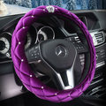 new Crystal crown Car Steering Wheel Cover For Girls and women Car Styling Auto Accessories Black pink purple white flannelette