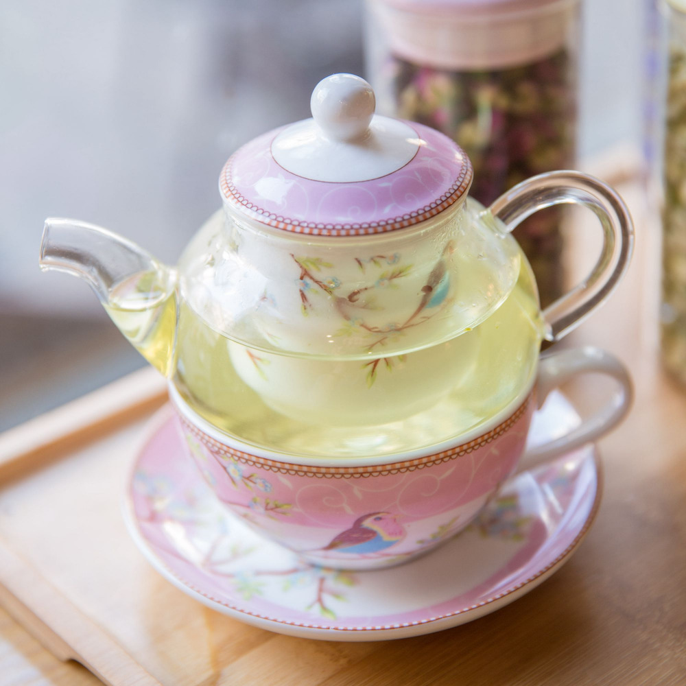 super quality child health pot robin ceramic flower bird teapot set heat-resistant glass tea Coffee pot cup and sauce drinkware