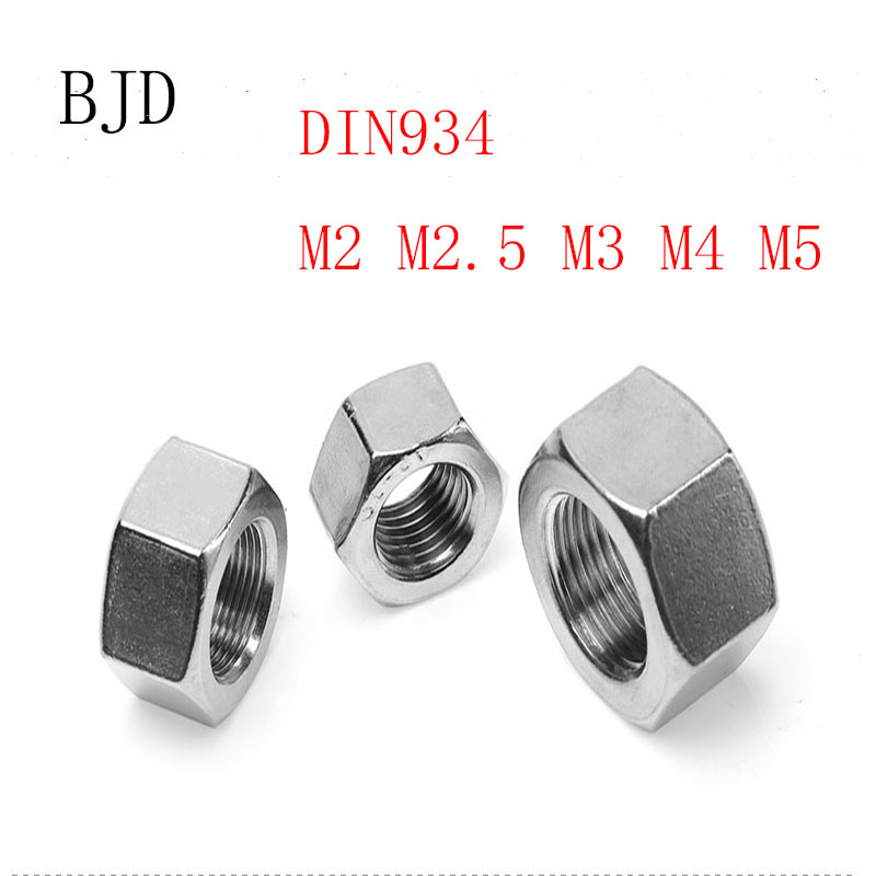 100pcs/lot Metric Thread DIN934 M2 M2.5 M3 M4 M5  304 Stainless Steel Hex Nuts