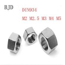 100 шт./лот метрической резьбы DIN934 M2 M2.5 M3 M4 M5 304 Нержавеющая сталь шестигранные гайки