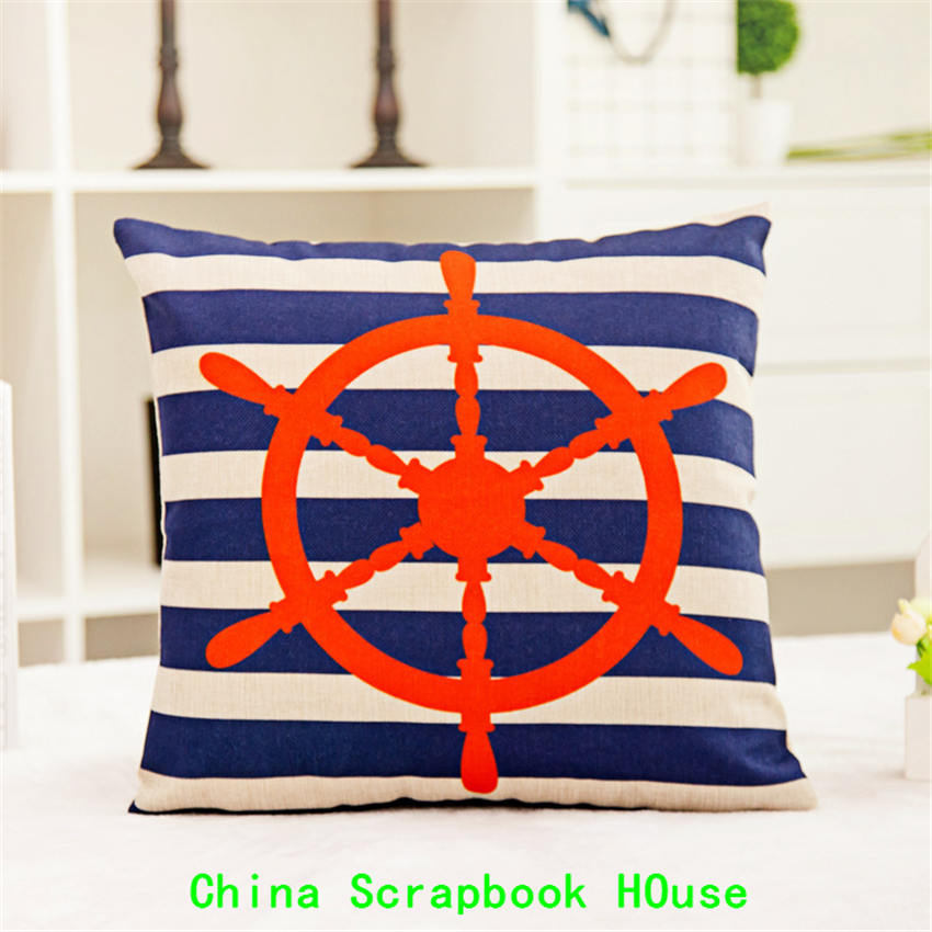 PANFELOU Suit for 45*45cm Comfortable sea pirate ship direction rudder Hold Pillow Case for livingroom bedroom settee