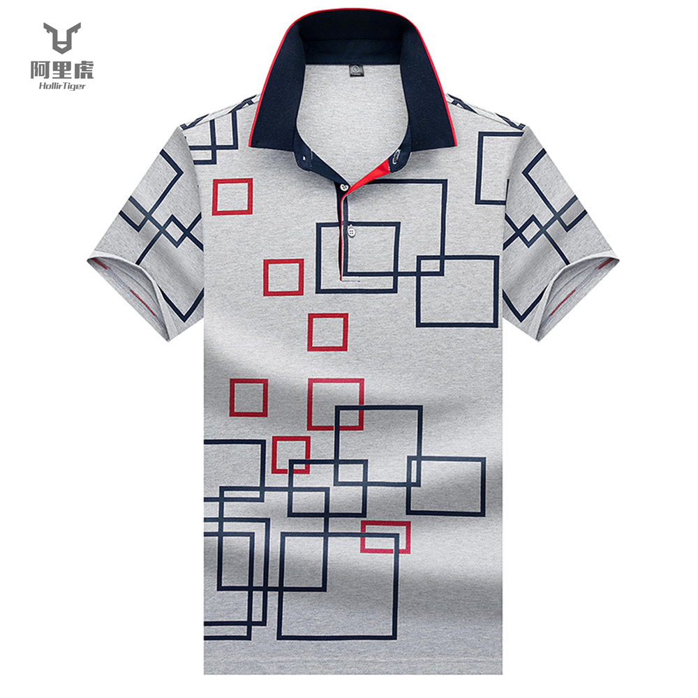 Hollirtiger Square Design Tops&Tees Dry Fit Mens   Polo   Shirts Summer 2019 Fashion Camisa   Polos   Shirt White Gray Masculina Homme