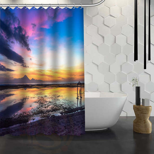 Hot Sale Custom Oceans Sea Sunrise Sunset Shower Curtain Waterproof Fabric Bath For Bathroom FY1 17