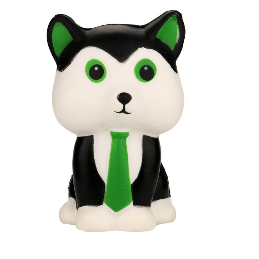 2018 HotSale Original Kawaii Squishy White And Green Dog Soft Slow Rising Pendant Phone Straps Stretchy Skuishy Kid Toy Gift 6.1