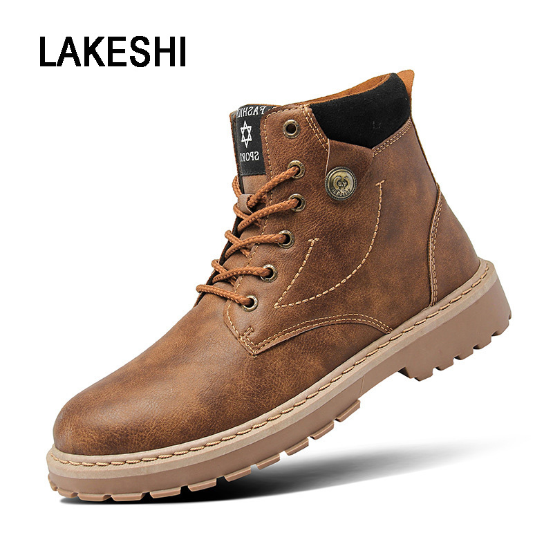 LAKESHI Pu Leather Men Boots Fashion Work Safety Boots Winter Men Ankle Boots Lace-up Male Shoes Martin Boots Man Casual Shoes cangma original luxury man s boots casual shoes ankle boots brand sneakers men lace up patent genuine leather male silver shoes