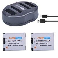 PowerTrust NB 11L NB 11L 2Pcs 1200mAh NB11L Camera Battery Dual USB Charger For Canon IXUS