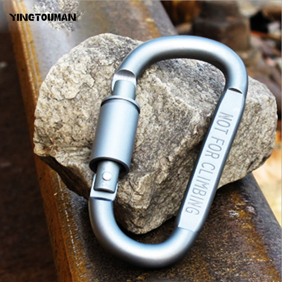 YINGTOUMAN Backpack Carabiner Outdoor Multi Climbing Buckles D-shaped Hook With Key Ring LED Light Camping Tools EDC